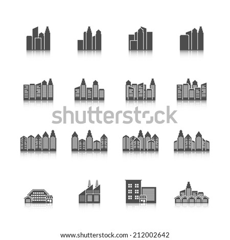 Modern residential urban settlement street buildings and industrial office edifice cityscape black isolated icons set vector illustration - stock vector