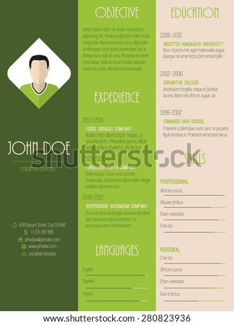Modern resume curriculum vitae cv design in green with stripes - stock vector