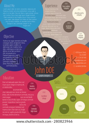 Modern resume curriculum vitae cv design with colored circles - stock vector