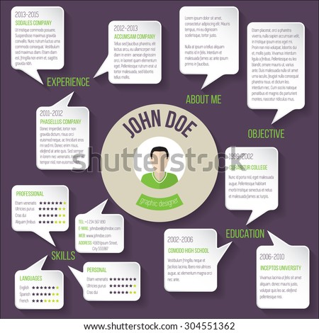 Modern resume curriculum vitae cv template design with speech bubbles - stock vector