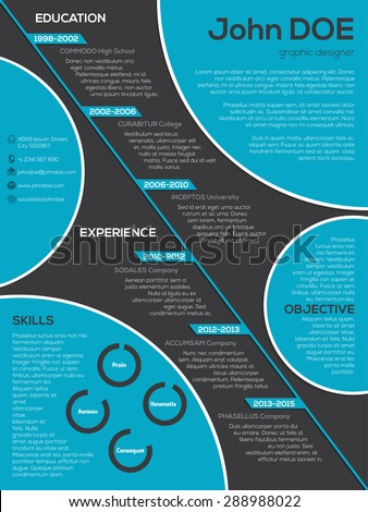 Modern resume cv curriculum vitae design with cool circle elements - stock vector