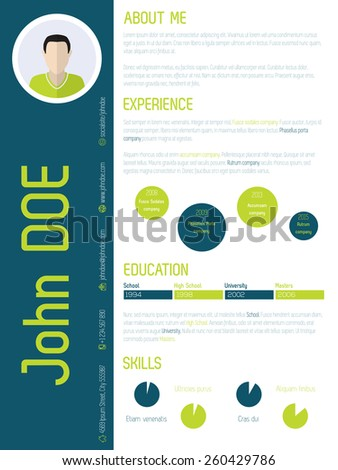 Modern resume cv curriculum vitae design with cool colors - stock vector