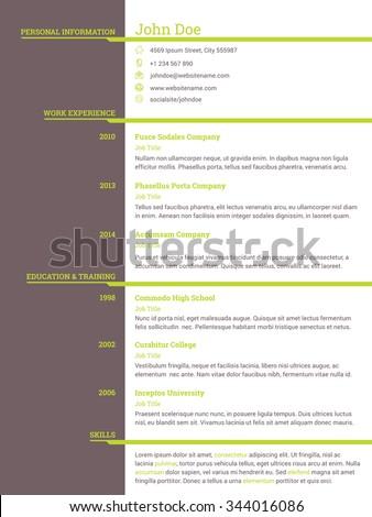 Modern resume cv curriculum vitae template design for job seekers - stock vector