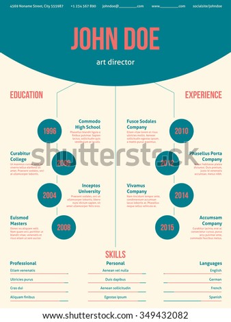 Modern resume cv curriculum vitae template design with cool colors - stock vector