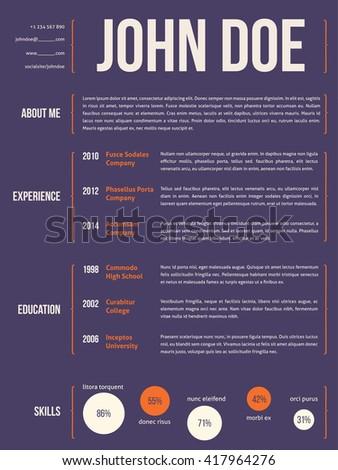 Modern resume cv curriculum vitae template design with curly brackets - stock vector