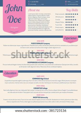 Modern resume cv curriculum vitae template with pink ribbon - stock vector