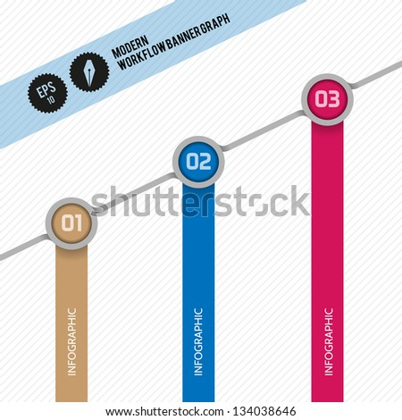 Modern Ribon Workflow Options Banner - Vector Illustration - Infographic design can be use like bar graph, presentation or business