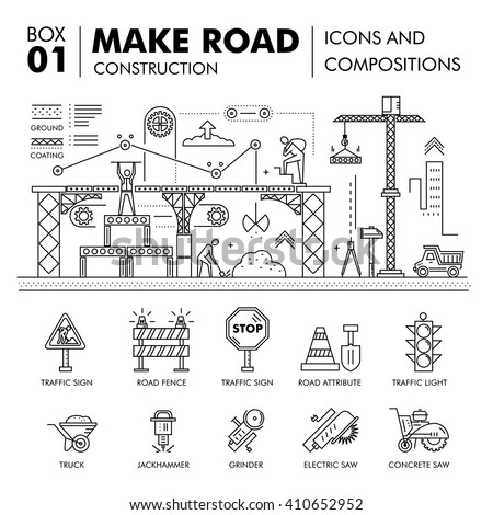 Modern road building and bridge construction thin line block flat icons and concept development strategy and idea concept architecture