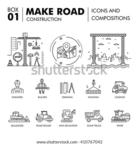 Modern road building and bridge construction thin line block flat icons and concept development strategy and idea concept architecture - stock vector