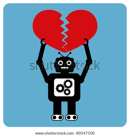 Modern robot with crushed heart - stock vector