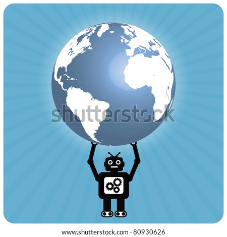 Modern robot with happy heart globe - Atlas - stock vector