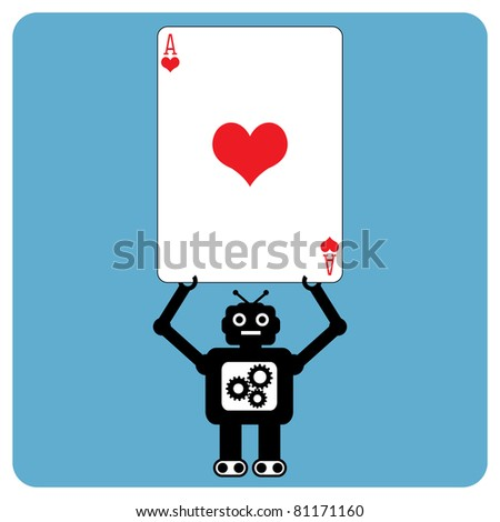 Modern robot with heart ace - stock vector