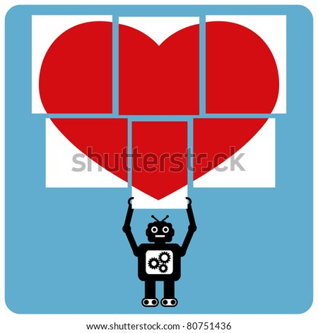 Modern robot with jigsaw happy heart - stock vector