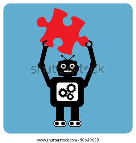 Modern robot with puzzle pieces - stock vector