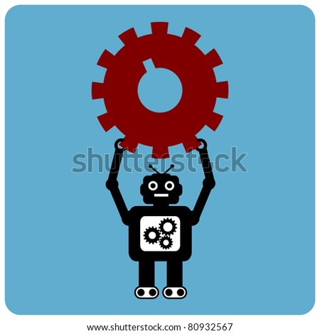 Modern robot with red gear - stock vector
