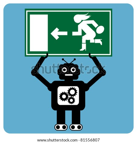 Modern robot with woman exit sign - stock vector