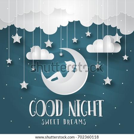Modern Romantic Paper Art Good Night Stock Vector 702360118