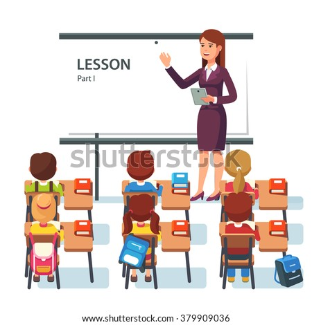 Modern school lesson. Little students and teacher. Classroom with whiteboard, pupils tables and chairs. Modern flat style vector illustration isolated on white background. - stock vector