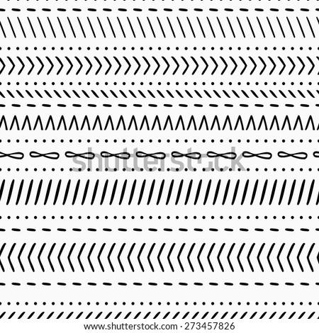 Modern seamless black and white ethnic tribal pattern - stock vector
