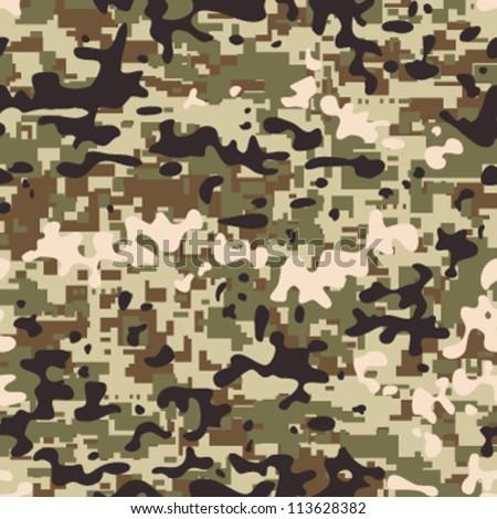 Modern seamless digital multi terrain pattern camouflage - stock vector