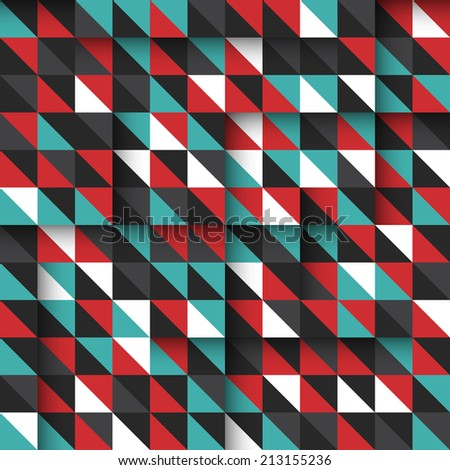 Modern seamless pattern with colorful triangles