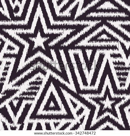 Modern Seamless Stars Background in Scribble Style. Handicraft Black and White Striped Vector Pattern. Rough Edges Mosaic Shapes - stock vector