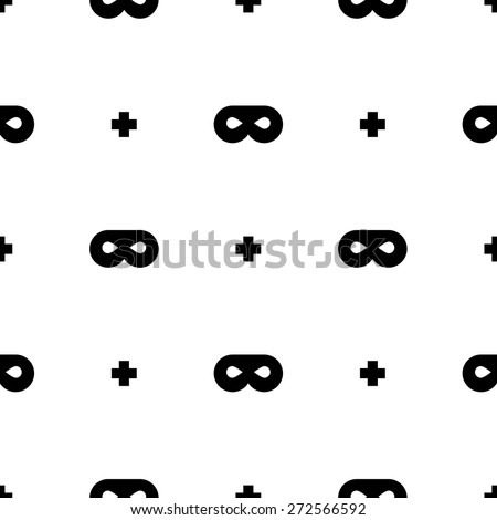 modern seamless superhero with mask and black crosses - stock vector