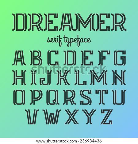 Modern serif typeface. Vector. - stock vector