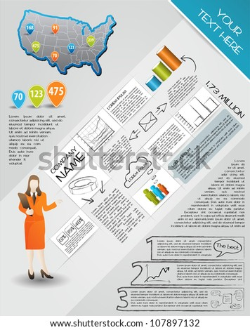 Modern set elements of infographics.  Map of USA and Information Graphics - stock vector