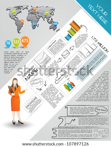 Modern set elements of infographics. World Map and Information Graphics - stock vector