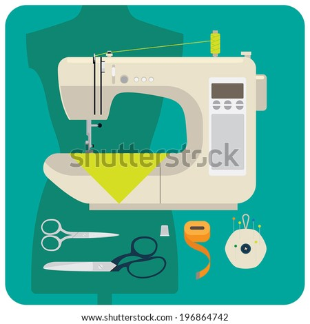 Modern sewing machine set - stock vector