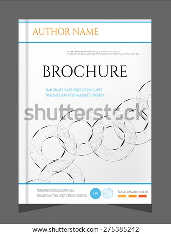 Modern, simple brochure, report, flyer, template design with black, round shapes, text