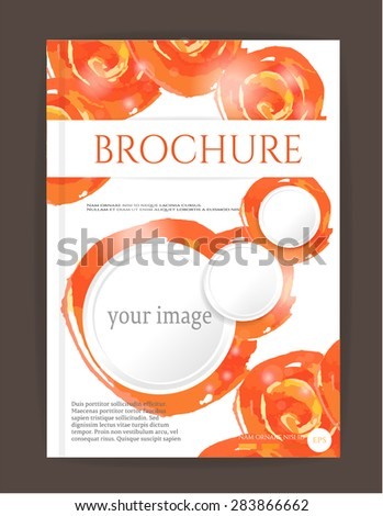 Modern, simple brochure, report, flyer, template design with round, watercolors shapes, circles - orange, white colors, dark background, text, lights