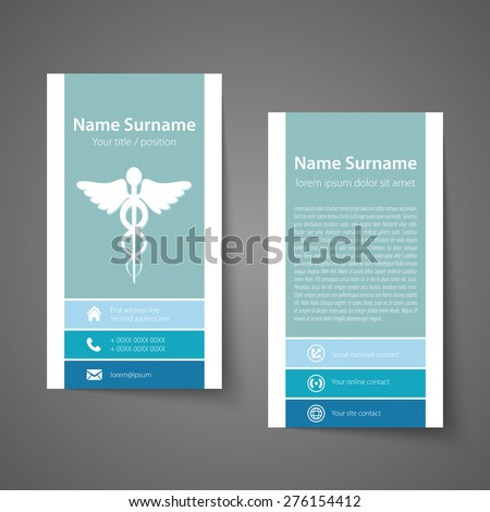 Modern simple business card template for physicians. Vector format. - stock vector