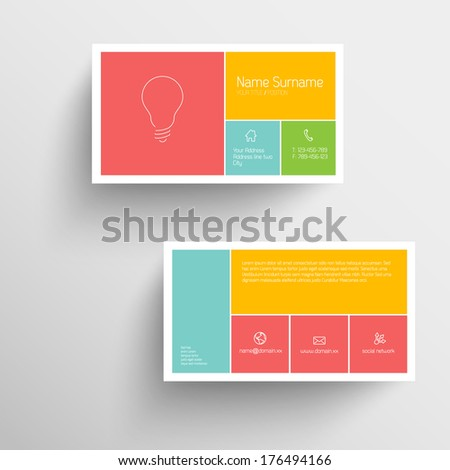 Modern simple business card template with flat mobile user interface - stock vector
