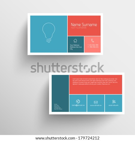 Modern simple business card template with flat mobile user interface (red and blue) - stock vector