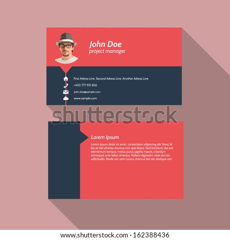 Modern simple light business card template - Flat Design - Vector Illustration - stock vector