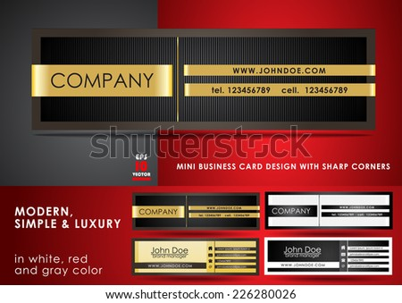 Modern, simple & luxury mini business card - stock vector