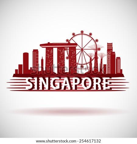 Modern Singapore City Skyline Design - stock vector