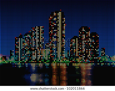 Modern skyscraper night cityscape made of color dots - stock vector
