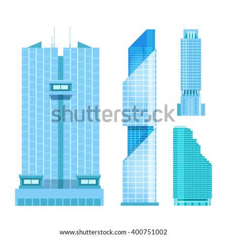 modern skyscrapers icons set. Flat design of the city elements. New office buildings with headquarters. - stock vector