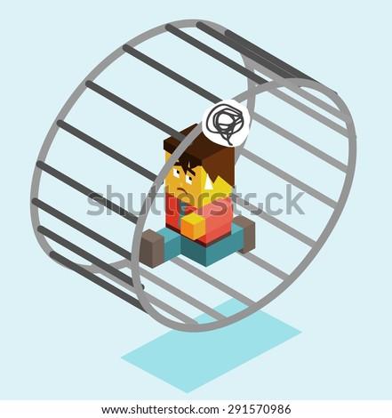 modern slavery on wheel. vector illustration - stock vector