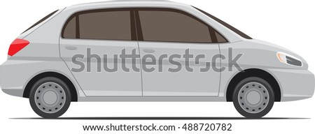 Modern small car model side view isolated on white. Vector illustration