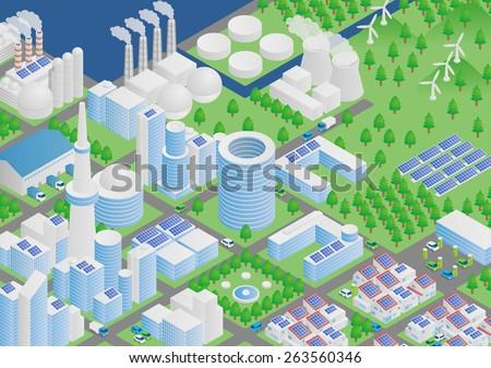 Modern Smart City image illustration - stock vector