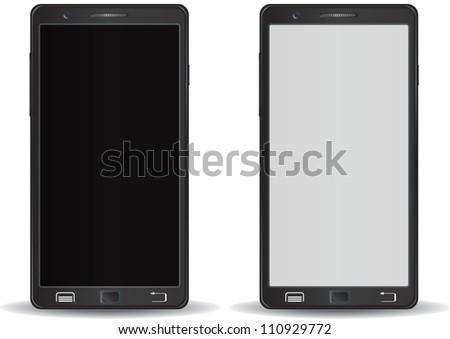 Modern smart phone black and white screen - stock vector