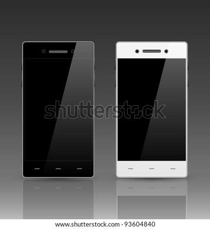 Modern smart phone. Black and white version. - stock vector