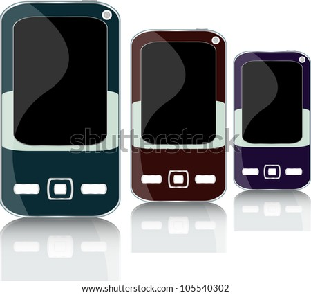 Modern smart phone set with reflection - stock vector