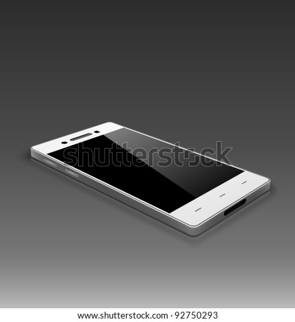 Modern smart phone. White version. 3D. - stock vector