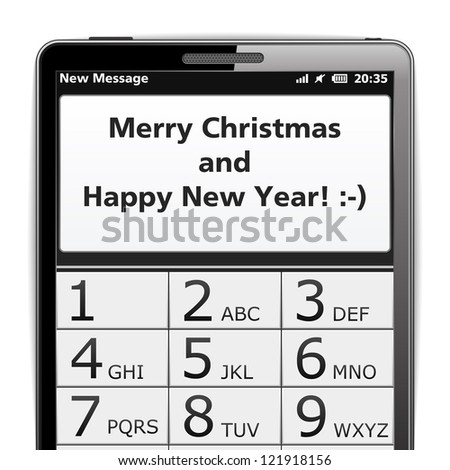 Modern smart phone with Merry Christmas SMS on the screen, vector eps10 illustration - stock vector