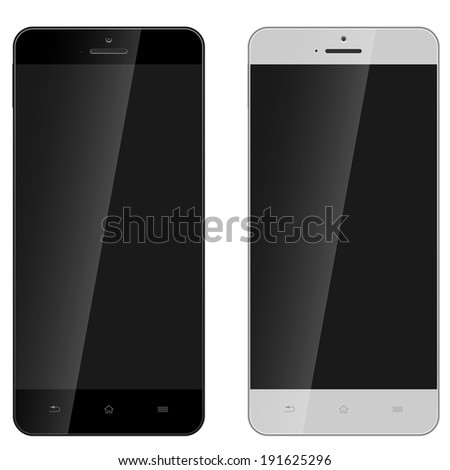 Modern smartphone in black and white color isolated on white background. - stock vector